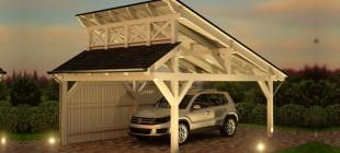 Pultdach Einzelcarport Bausatz