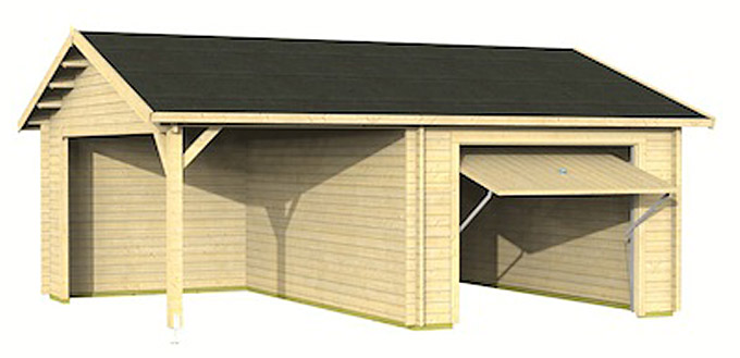 garage carport fertigbausatz holzgarage mit. Black Bedroom Furniture Sets. Home Design Ideas