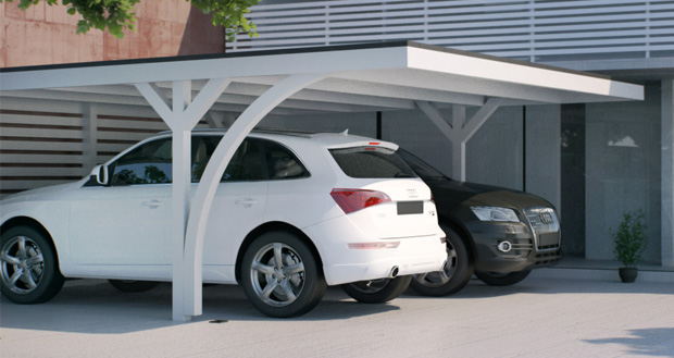 flachdachcarport als einzel doppelcarport. Black Bedroom Furniture Sets. Home Design Ideas