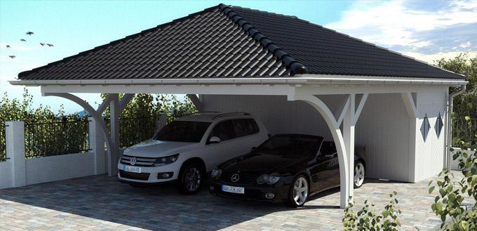carport aus holz zum selbst bauen im fertigbausatz preise und bestellung. Black Bedroom Furniture Sets. Home Design Ideas